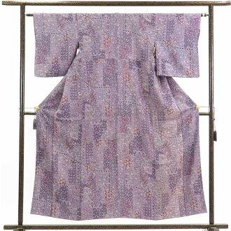 再利用和服小花纹/正絹紫地花柄袷小紋着物/女士(旧衣服再利用品小花纹)