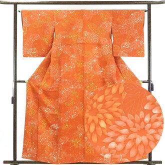 It is 28.5cm in width length of a kimono sleeve 50cm after silk orange 裄 medium size dress length 162cm 裄 64cm width of body section front 23cm for recycling kimono fine pattern / pure silk fabrics tea orange place floral design lined kimono fine pattern
