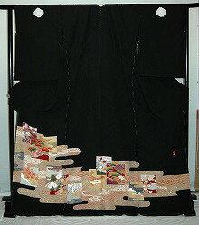 【貸衣裳】rt209:雲取に色紙柄レンタル留袖【貸衣装】
