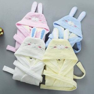 2020冬新作 キッズ 厚手 タオル地 ウサギフード付き バスローブ 綿100 かわいい ロング丈 秋冬用 暖かい 子供用 パーカー ナイトガウン kids' rabbit bathrobe