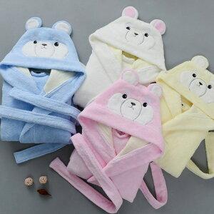 2020冬新作 キッズ 厚手 タオル地 クマ フード付き バスローブ 綿100 かわいい ロング丈 秋冬用 子供用 パーカー ナイトガウン kids' bear bathrobe
