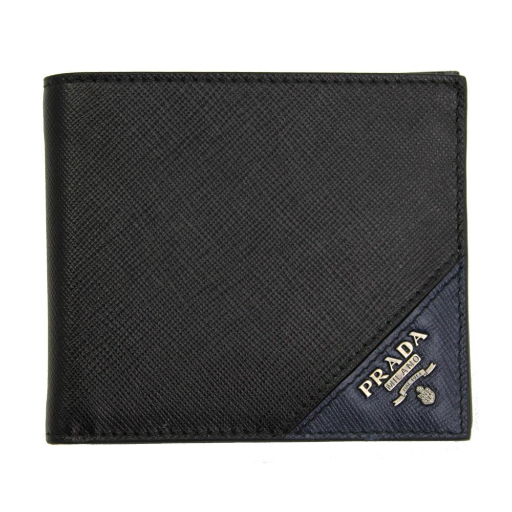 【新品】 【PRADA】 プラダ 二つ折り札入れ 財布 メンズ 型押しレザー ブラック/ネイビー 2MO513 SAFFIANO METAL NERO+BALTICO
