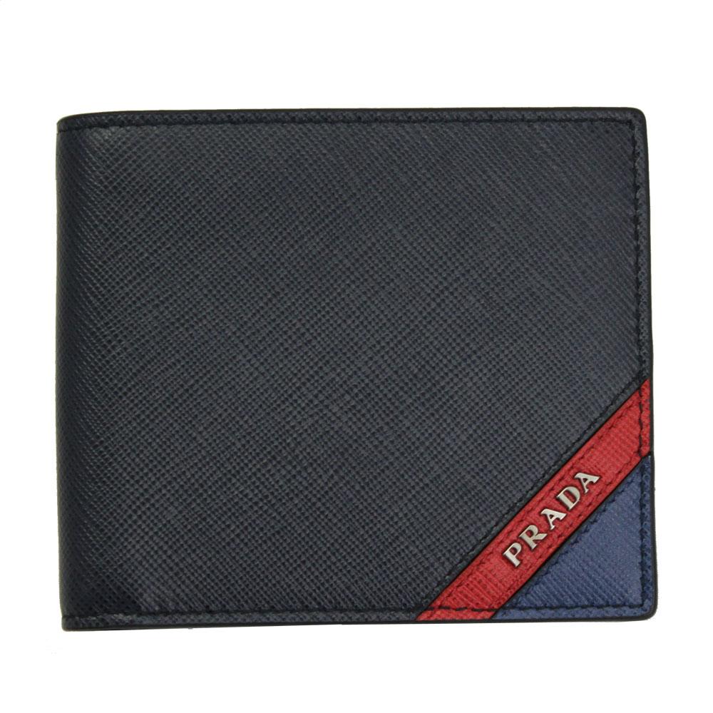 【新品】 【PRADA】 プラダ メンズ 二つ折り財布 型押しレザー ネイビー/レッド 2MO738 SAFFIANO STRIPE BALTICO+FUOCO
