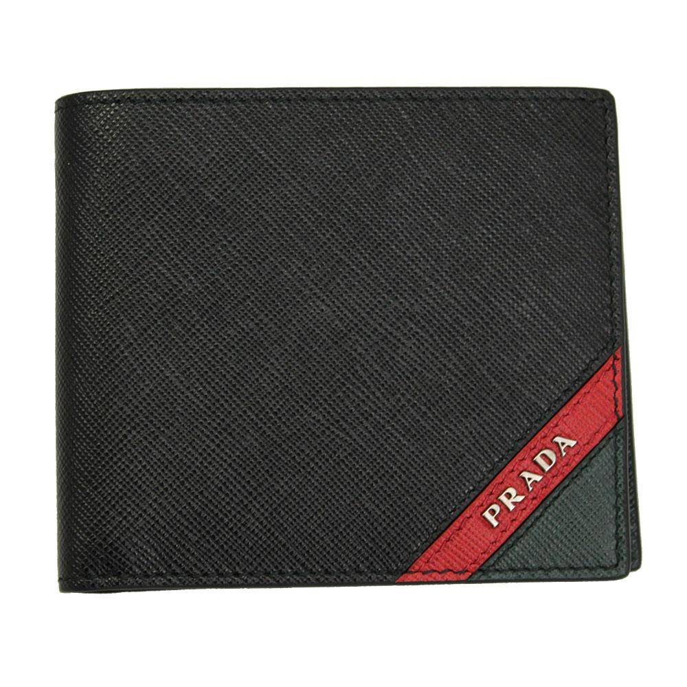 【新品】 【PRADA】 プラダ メンズ 二つ折り財布 型押しレザー ブラック/レッド/グリーン 2MO738 SAFFIANO STRIPE NERO+FUOCO+SMER