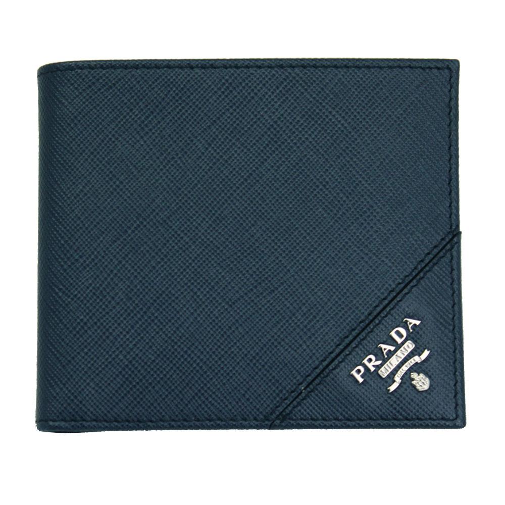 【新品】 【PRADA】 プラダ メンズ 二つ折り財布 型押しレザー ネイビー 2MO738 SAFFIANO METAL BALTICO