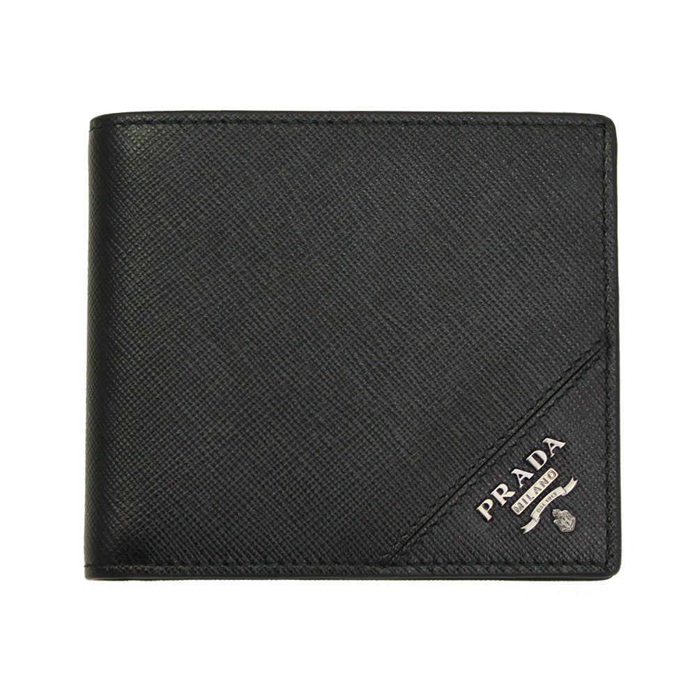 【新品】 【PRADA】 プラダ メンズ 二つ折り財布 型押しレザー ブラック 2MO738 SAFFIANO METAL NERO