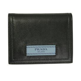 プラダ 財布 レザー ブラック 1MV204 PRADA 2つ折り財布 エティケット ブラック×ライトブルー レザーロゴ 1MV204 2BMU F0OK0