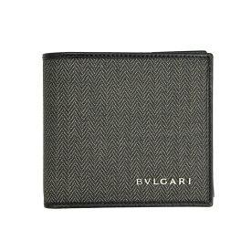 ブルガリ 財布 メンズ 32581 BVLGARI 二つ折り財布 メンズ ウィークエンド コーティング キャンバス レザー ブラック/グレー