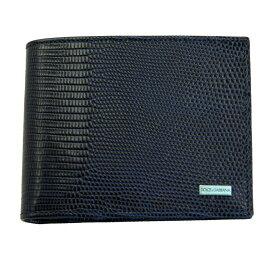 ドルチェ&ガッバーナ 財布 BP0457 DOLCE&GABBANA 二つ折り財布 メンズ 型押しレザー リザード調 ネイビー系 内側ブラック BP0457 B5261 80650