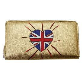 ドルチェ&ガッバーナ 財布 レディース BP1672 DOLCE&GABBANA ラウンドファスナー長財布 #DG LOVES LONDON 型押しレザー ゴールド BP1672 B5203 80997