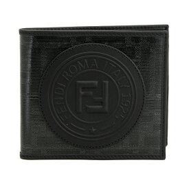 フェンディ 財布 ブラック 7M0169 FENDI 二つ折り札入れ メンズ フェンディスタンプ アップリケ PVC×レザー 7M0169 A5K4 F0GXN