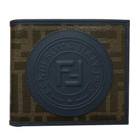 フェンディ 財布 7M0169 FENDI 二つ折り札入れ メンズ フェンディスタンプ アップリケ PVC×レザー 7M0169 A5K4 F1657 日本未入荷
