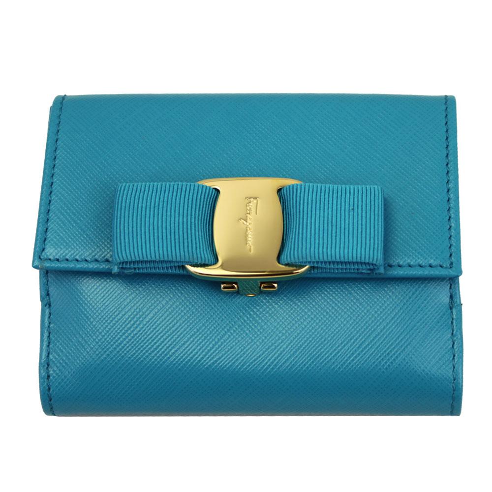 【新品】 【FERRAGAMO】 フェラガモ 二つ折り財布 ヴァラ・リボン 型押しレザー ブルー系 22A926 POLYNESIE