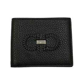 フェラガモ 財布 ブラック 66A353 FERRAGAMO 二つ折り札入れ メンズ 編み込みガンチーニ レザー 66A353 0704359 日本未入荷