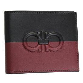 フェラガモ 財布 メンズ 66A463 FERRAGAMO 二つ折り札入れ ダブルガンチーニ レザー ブラック/レッド系 66A463 713856