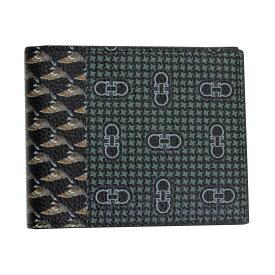 フェラガモ 財布 メンズ 66A576 FERRAGAMO 二つ折り札入れ ダブルガンチーニ バード柄 ブラック/マルチカラー 66A576 720344