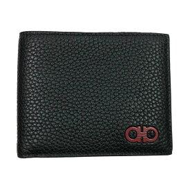 フェラガモ 財布 メンズ 66A072 FERRAGAMO 二つ折り札入れ カーフレザー ブラック 内側バード柄 66A072 720282