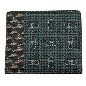 フェラガモ 財布 メンズ 66A577 FERRAGAMO 二つ折り財布 ダブルガンチーニ バード柄 ブラック/マルチカラー 66A577 720347