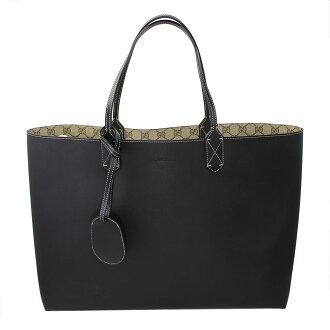 Gucci 可逆的手提袋黑色 / 米色皮革 368571 A9810 9769