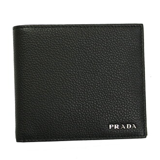 Prada men's 2 fold wallet leather black 2M0738-VITELLO-GRAIN-NERO