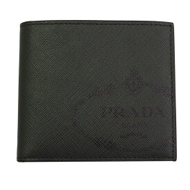 プラダ 財布 2MO513 PRADA 二つ折り札入れ メンズ レザー ロゴ ダークグレー/ネイビー 2MO513 2MB8 F0JQR