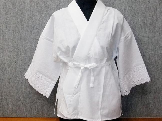 《和装肌着》爽やかなサラシの「半衿付肌着」綿レース袖付LL寸「日本製」