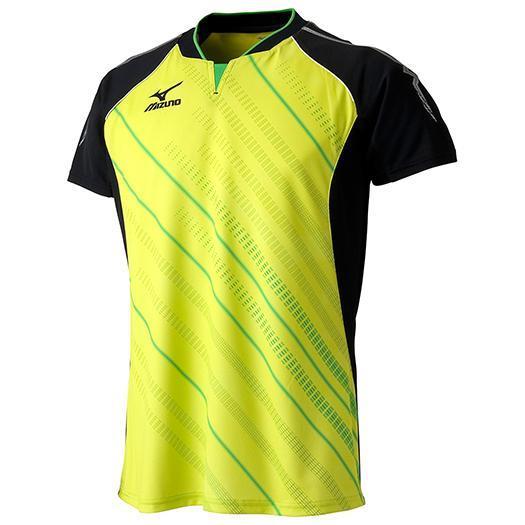 MIZUNO 【25%OFF】ミズノ ゲームシャツ(2015年卓球日本代表モデル) ライムグリーン×ブラック