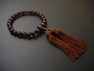 男性用略式数珠 22珠 総茶水晶 正絹頭付房[外国仕立て製品]