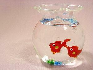 【ガラス細工】きれいな金魚鉢セット◆金箔入り★日本製 手作り品★贈答品 プレゼント品におすすめの品です。金魚 風水 きんぎょ