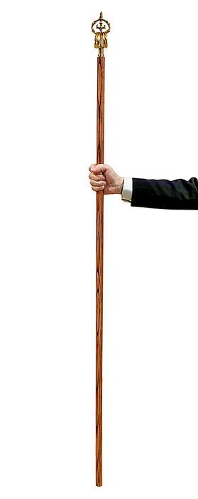 【錫杖】ロング真鍮錫杖(柄:タモ材)5尺 (150センチ)★日本製 ★当店オリジナル品★上等品 声杖 錫杖 鳴杖 お参り品 巡礼用品