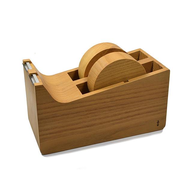 【木製文具】木製 テープディスペンサー2連タイプ桑の木製(日本製・職人手作り品)木製品 手作り品★文具 テープ テープカッター台