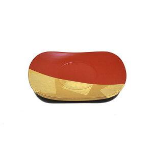 【お盆】金箔細工お皿「楕円形型」朱色日本製木製品お皿縁起物品菓子皿 漆塗り皿 茶托 供台 高月 高坏 供物皿