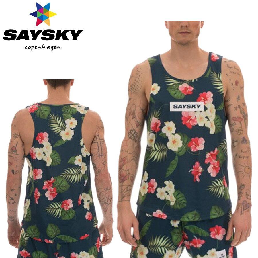 SAYSKY(セイスカイ) ユニセックス ALL TROPIC RACE SINGLET トロピカルシングレット(ランニングタンクトップシャツ)