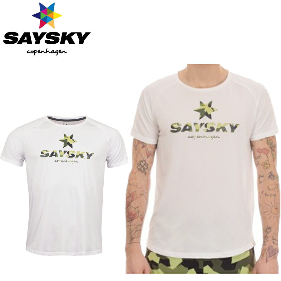 SAYSKY(セイスカイ) ユニセックス CLASSIC LOGO SS TEE クラシックロゴ半袖Tシャツ カモフラ柄(ランニングシャツ)