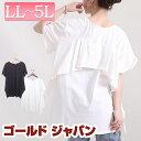 大きいサイズレディース トップス Tシャツ バックフリルTシャツ フレアスリーブTシャツ バックフリルデザイン カット…