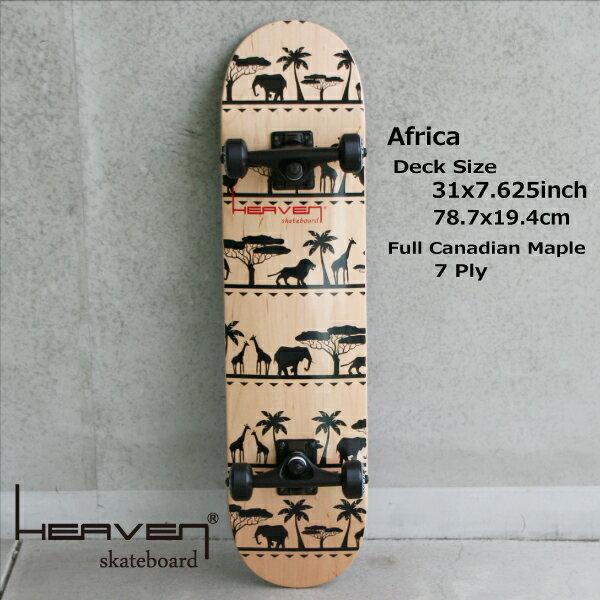 訳あり・特別価格入荷時にわずかなキズのためHEAVEN SKATE COMPLETEAFRICA 31×7.625アフリカ 78.7×19.4センチヘブン スケボーハイクオリティー・スケートボード・コンプリート・完成品送料無料・あす楽対応