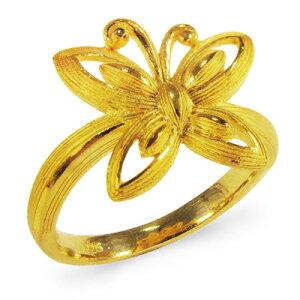純金 24K 指輪 バタフライ 蝶 リング レディース 女性 イエローゴールド プレゼント 誕生日 贈物 24金 ジュエリー アクセサリー ブランド プリマゴールド PRIMAGOLD K24 送料無料