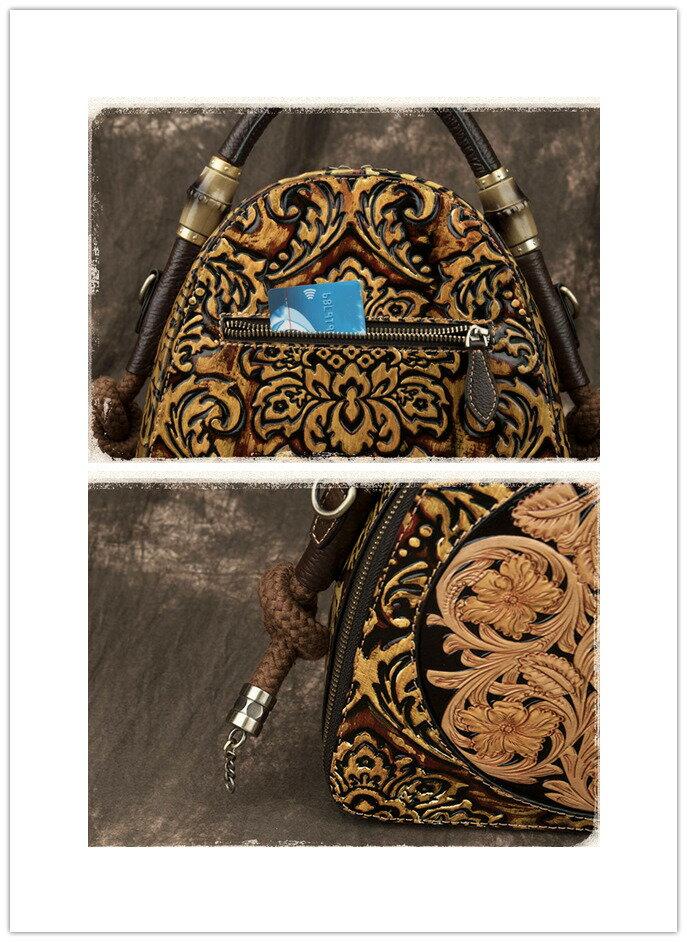 【半額!数量限定】【本革アンティークバッグ】高品質本革牛革型押しハンドバッグハンドメイド本革鞄ショルダーバックレディースSA