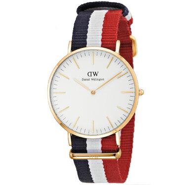 Daniel Wellington 0103DWClassic Cambridgeダニエルウェリントンクラシック ケンブリッジユニセックス 腕時計ファブリック×ステンレスネイビー×ホワイト×レッド×ホワイト