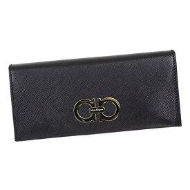 Salvatore Ferragamo22B481 614227 NEROフェラガモ 長財布型押レザーブラック×ゴールド