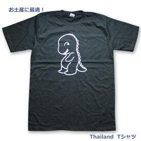 タイランドTシャツ恐竜デザインプリントTシャツ半袖お土産に最適/男女兼用黒 44(3L)サイズ