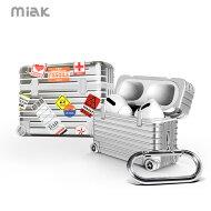 AirPodsProケースハードケースMIAKキャリーケーススーツケースエアーポッズカバーワイヤレス充電Qi対応ポリカーボネートTPU