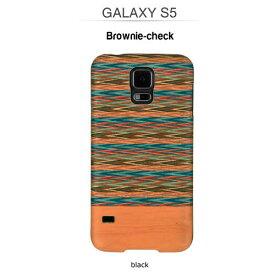 GALAXY S5 ケース 天然木 Man&Wood Real wood case Harmony Browny check (マンアンドウッド ブラウニーチェック) ブラックフレーム 木目 木のケース 木製 ウッドケース ウッドプレート スマホケース カバー ハードケース ギャラクシー galaxy S5