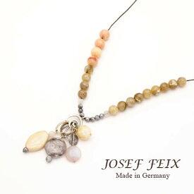 ドイツ製 JOSEF FEIX ベージュ系 ミックスビーズ ロングネックレス レディースジュエリー アクセサリー インポート コスチュームジュエリー パーティー 結婚式 発表会 お呼ばれ