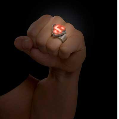 スーパーマン グッズ 指輪 子供用 LED 光る ジュエリー アクセサリー シルバーリング 映画 アメコミ ヒーロー キャラクター あす楽