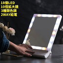 ミラー ライト付き 10倍拡大鏡付き 女優ミラー 化粧鏡 卓上ミラー LEDライト付き スタンド/壁掛け 色調三つ(ホワイト…