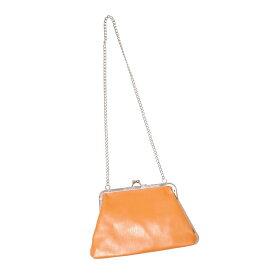 Silver Chain Purse Frame Shoulder Bag(camel) レディース バッグ レザーバッグ パースフレームバッグ ショルダーバッグ がま口 キャメル ライトブラウン 黄色 イエロー 茶色 シルバー 銀色 お洒落 おしゃれ 上品 肩掛け 斜め掛け