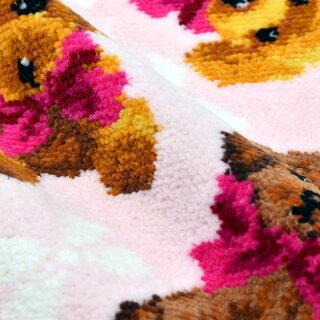 ハンカチタオルハンカチハンカチタオルギフトブランドレディースシェニール織【犬プードル】(ピンク)23cm綿100%アーンジョー[日本製/ギフト/同梱不可/DM便送料無料]