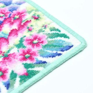 アーンジョー<Enjeau>小さめミニハンカチシェニール織ミニネオグリーンシリーズ多肉植物花柄タオルハンカチ17cm綿100%ハワイ女性レディース