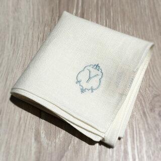 [DM便送料無料]ハンカチリネンイニシャル刺繍日本製ギフトブランドレディース【選べるイニシャル刺繍ハンカチ】(ホワイト)麻100%44cmリネンラヴィアーンジョー[日本製/ギフト/DM便同梱不可]